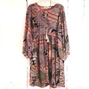 UMGEE | Pink Boho Feather Print Babydoll Dress L